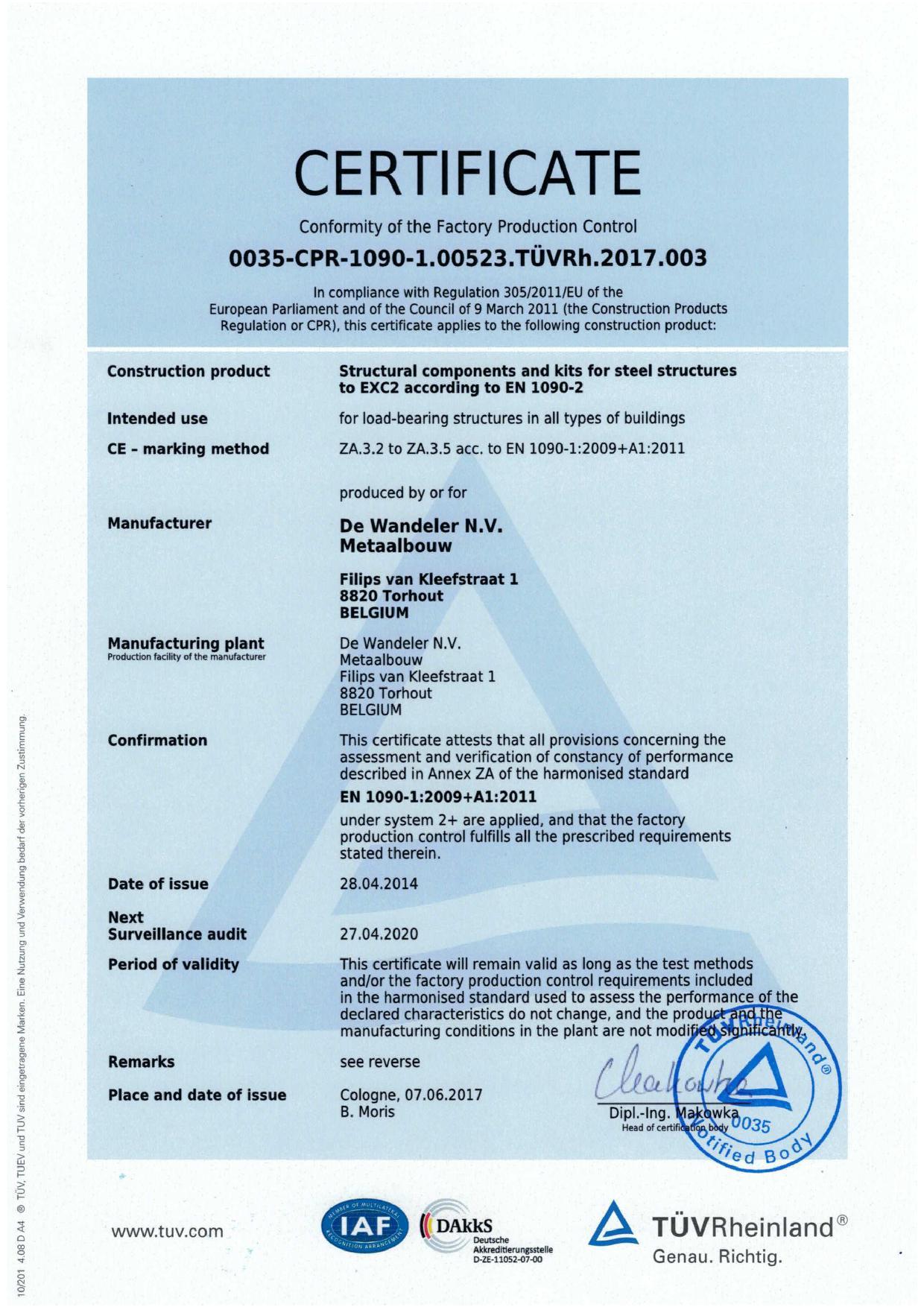 EN 1090 Certificate