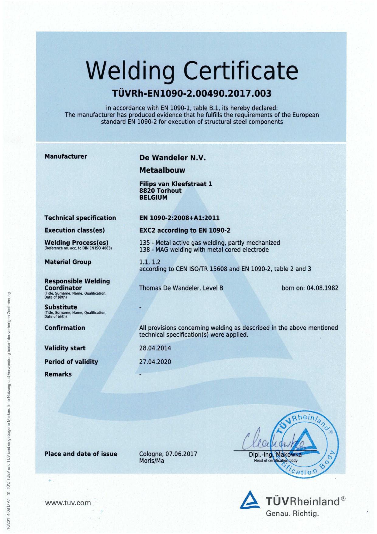 EN 1090 Welding Certificate